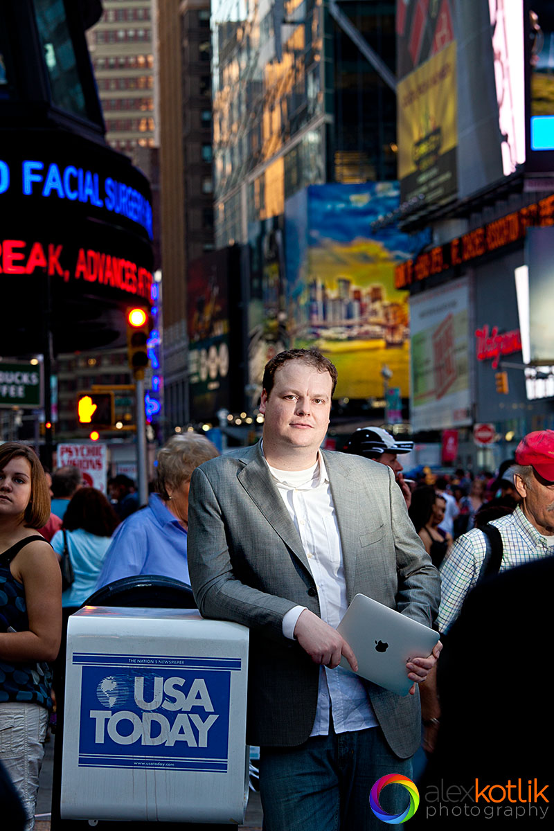 Corporate portrait photography on-location in Times Square, New York City