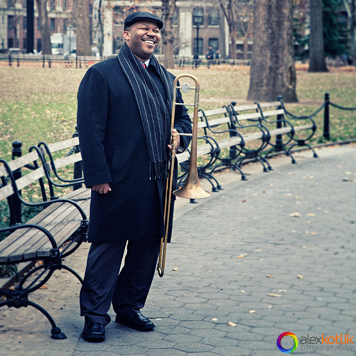 Musician Marcus Lewis on-location session in a park in New York city